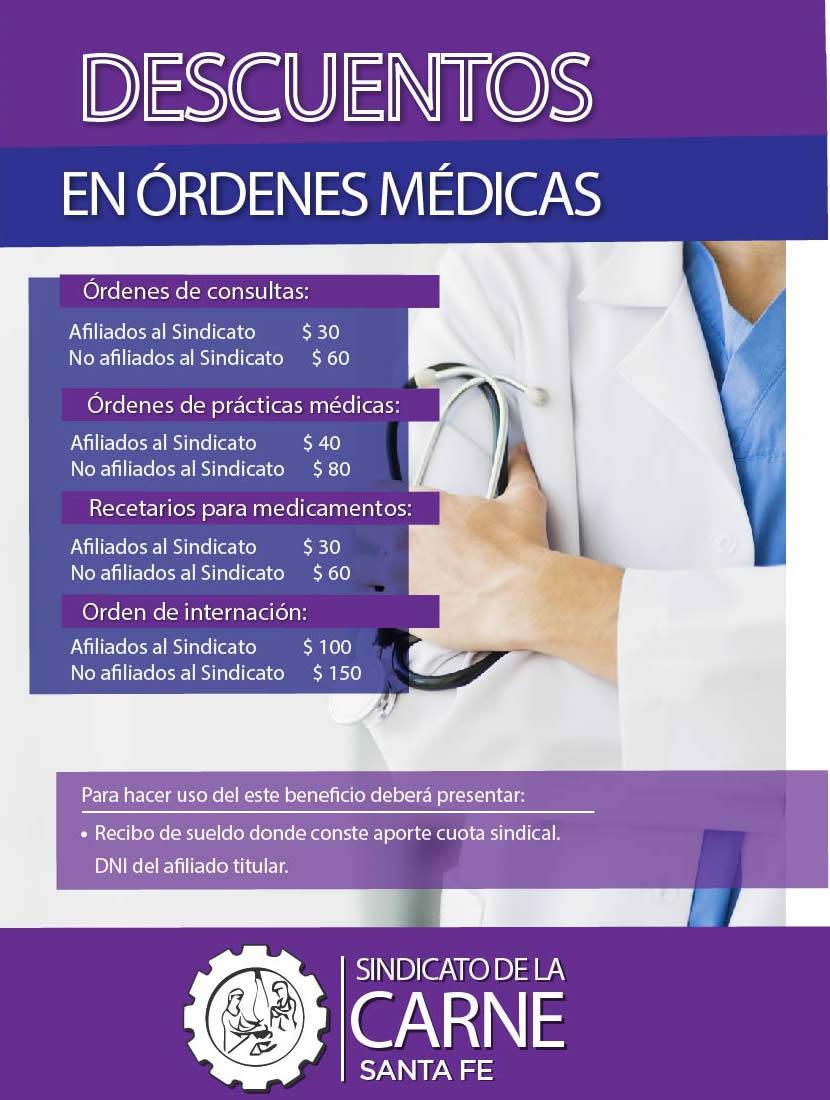DESCUENTOS EN ORDENES MÉDICAS